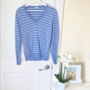 J.Crew blue and white striped sweater